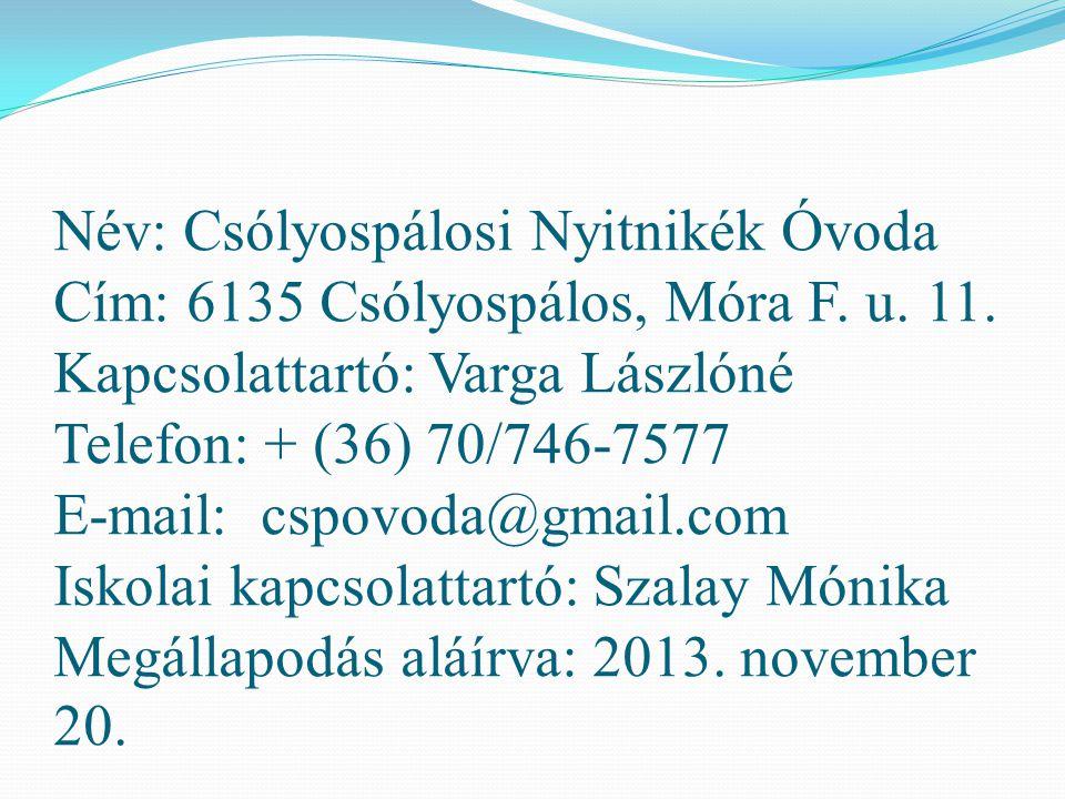 Név: Zákányszéki Manó-kert Óvoda és Bölcsőde Cím: 6787 Zákányszék, Petőfi u.