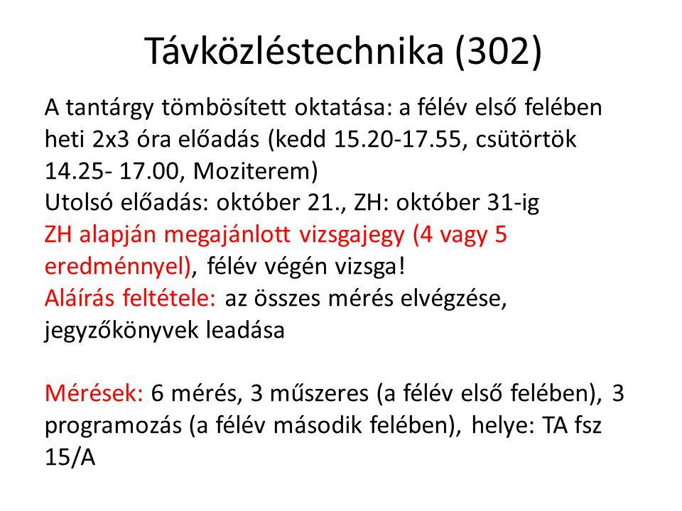 Távközléstechnika (302) A tantárgy tömbösített oktatása: a félév első felében heti 2x3 óra előadás (kedd 15.20-17.55, csütörtök 14.25- 17.00, Mozitere