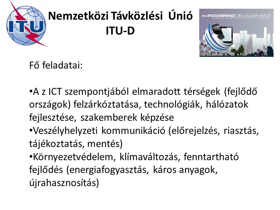 Nemzetközi Távközlési Únió ITU-D Fő feladatai: A z ICT szempontjából elmaradott térségek (fejlődő országok) felzárkóztatása, technológiák, hálózatok f