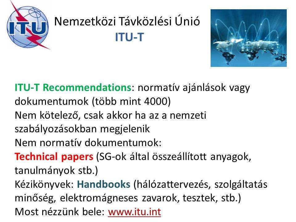 Nemzetközi Távközlési Únió ITU-T ITU-T Recommendations: normatív ajánlások vagy dokumentumok (több mint 4000) Nem kötelező, csak akkor ha az a nemzeti