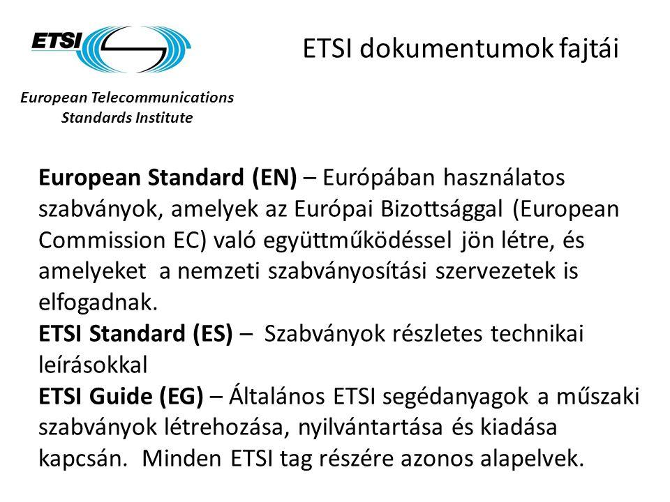 European Telecommunications Standards Institute ETSI dokumentumok fajtái European Standard (EN) – Európában használatos szabványok, amelyek az Európai