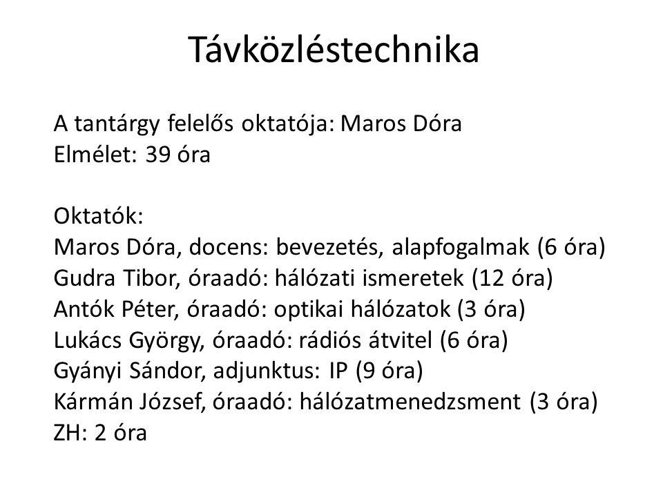 Távközléstechnika A tantárgy felelős oktatója: Maros Dóra Elmélet: 39 óra Oktatók: Maros Dóra, docens: bevezetés, alapfogalmak (6 óra) Gudra Tibor, ór