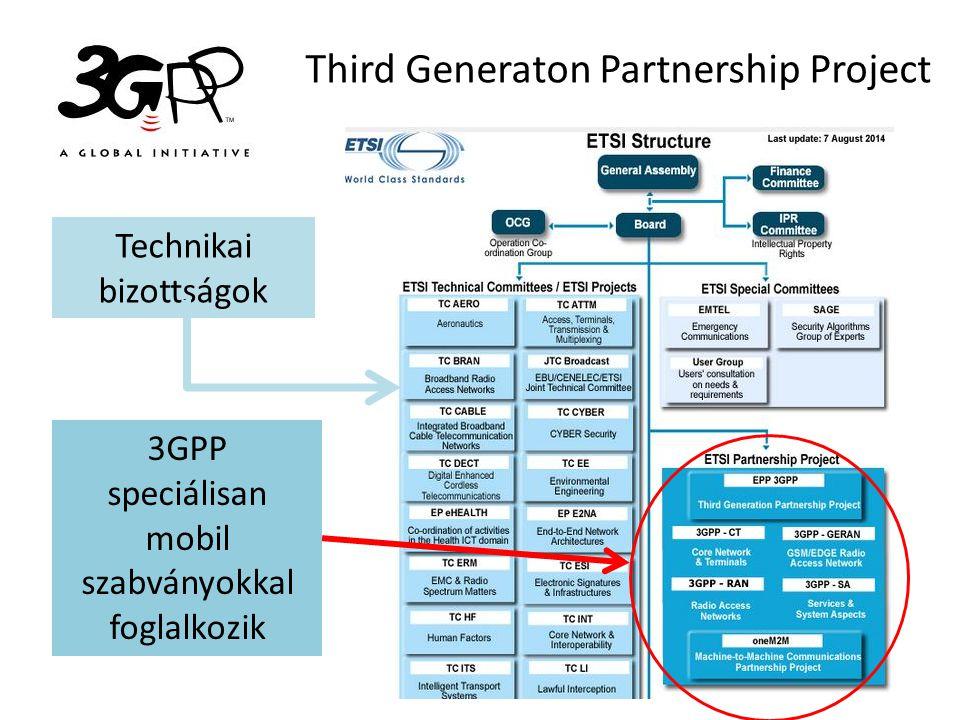 Third Generaton Partnership Project 3GPP speciálisan mobil szabványokkal foglalkozik Technikai bizottságok