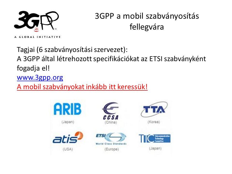 3GPP a mobil szabványosítás fellegvára Tagjai (6 szabványosítási szervezet): A 3GPP által létrehozott specifikációkat az ETSI szabványként fogadja el!
