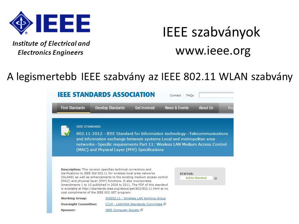 Institute of Electrical and Electronics Engineers IEEE szabványok www.ieee.org A legismertebb IEEE szabvány az IEEE 802.11 WLAN szabvány