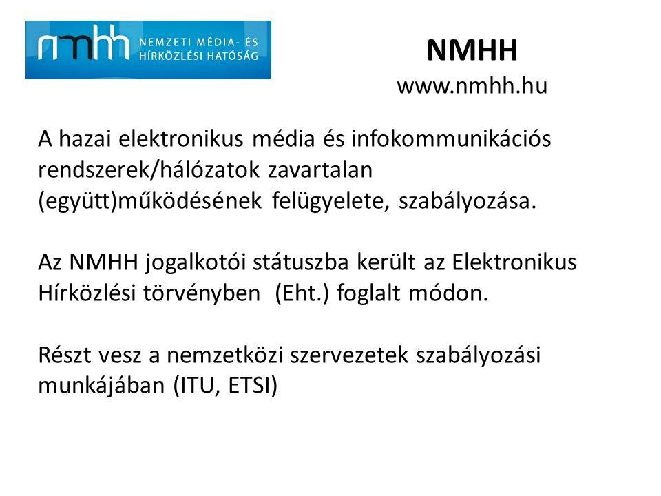 NMHH www.nmhh.hu A hazai elektronikus média és infokommunikációs rendszerek/hálózatok zavartalan (együtt)működésének felügyelete, szabályozása. Az NMH