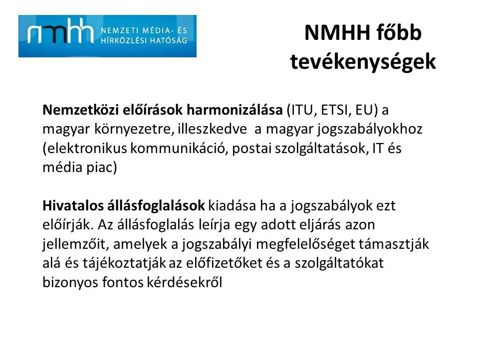 NMHH főbb tevékenységek Nemzetközi előírások harmonizálása (ITU, ETSI, EU) a magyar környezetre, illeszkedve a magyar jogszabályokhoz (elektronikus ko