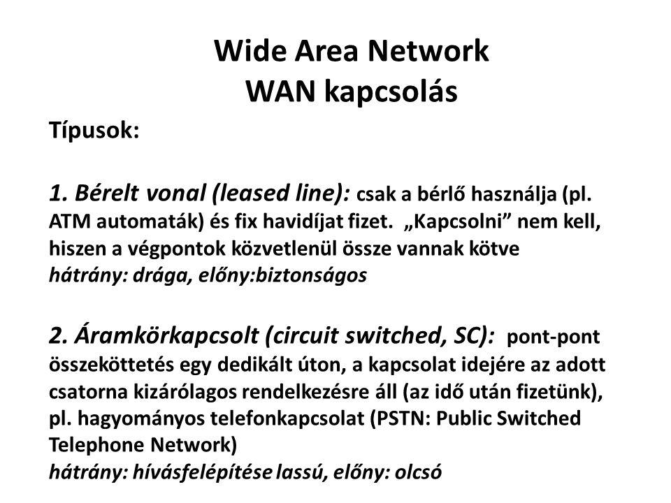 """Wide Area Network WAN kapcsolás Típusok: 1. Bérelt vonal (leased line): csak a bérlő használja (pl. ATM automaták) és fix havidíjat fizet. """"Kapcsolni"""""""