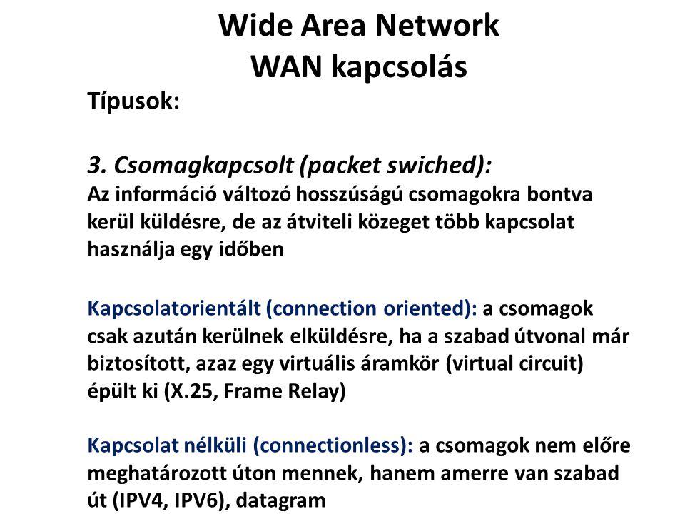 Wide Area Network WAN kapcsolás Típusok: 3. Csomagkapcsolt (packet swiched): Az információ változó hosszúságú csomagokra bontva kerül küldésre, de az