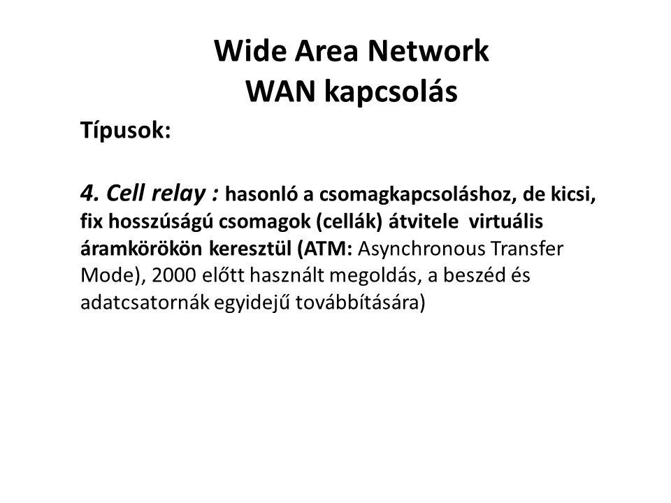 Wide Area Network WAN kapcsolás Típusok: 4. Cell relay : hasonló a csomagkapcsoláshoz, de kicsi, fix hosszúságú csomagok (cellák) átvitele virtuális á