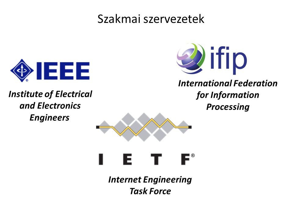 Institute of Electrical and Electronics Engineers Internet Engineering Task Force International Federation for Information Processing Szakmai szerveze