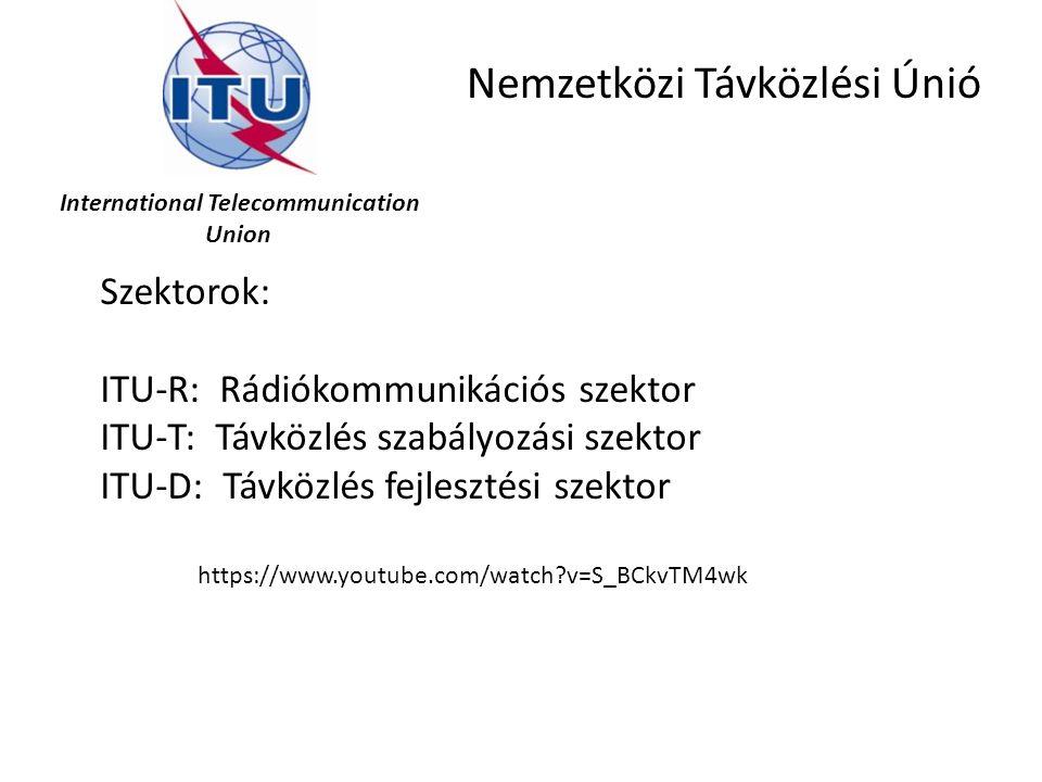 International Telecommunication Union Nemzetközi Távközlési Únió Szektorok: ITU-R: Rádiókommunikációs szektor ITU-T: Távközlés szabályozási szektor IT