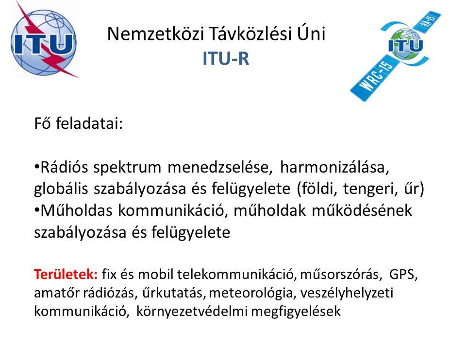 Nemzetközi Távközlési Únió ITU-R Fő feladatai: Rádiós spektrum menedzselése, harmonizálása, globális szabályozása és felügyelete (földi, tengeri, űr)