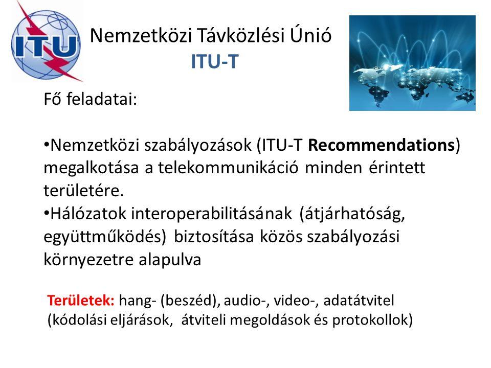 Nemzetközi Távközlési Únió ITU-T Fő feladatai: Nemzetközi szabályozások (ITU-T Recommendations) megalkotása a telekommunikáció minden érintett terület