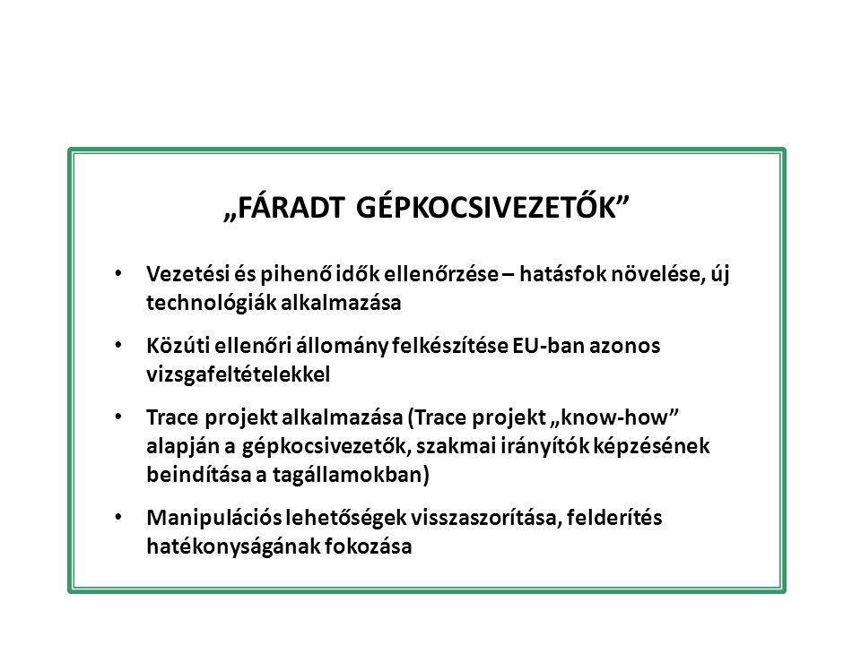 """""""FÁRADT GÉPKOCSIVEZETŐK"""" Vezetési és pihenő idők ellenőrzése – hatásfok növelése, új technológiák alkalmazása Közúti ellenőri állomány felkészítése EU"""