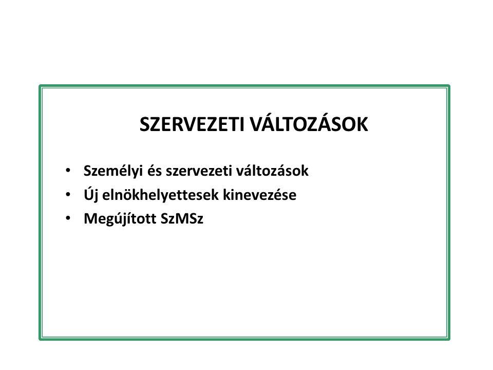 SZERVEZETI VÁLTOZÁSOK Személyi és szervezeti változások Új elnökhelyettesek kinevezése Megújított SzMSz
