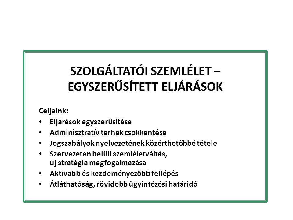 SZOLGÁLTATÓI SZEMLÉLET – EGYSZERŰSÍTETT ELJÁRÁSOK Céljaink: Eljárások egyszerűsítése Adminisztratív terhek csökkentése Jogszabályok nyelvezetének közé