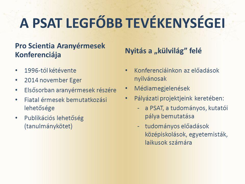 A PSAT LEGFŐBB TEVÉKENYSÉGEI Pro Scientia Aranyérmesek Konferenciája 1996-tól kétévente 2014 november Eger Elsősorban aranyérmesek részére Fiatal érme