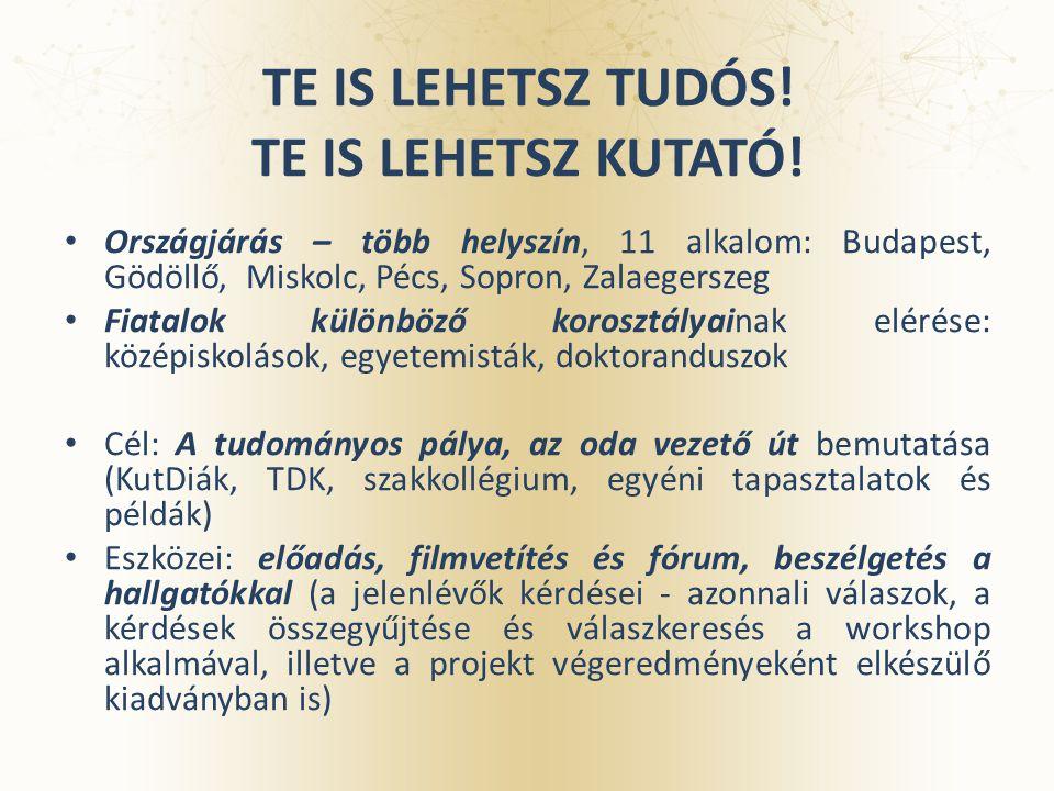 TE IS LEHETSZ TUDÓS! TE IS LEHETSZ KUTATÓ! Országjárás – több helyszín, 11 alkalom: Budapest, Gödöllő, Miskolc, Pécs, Sopron, Zalaegerszeg Fiatalok kü