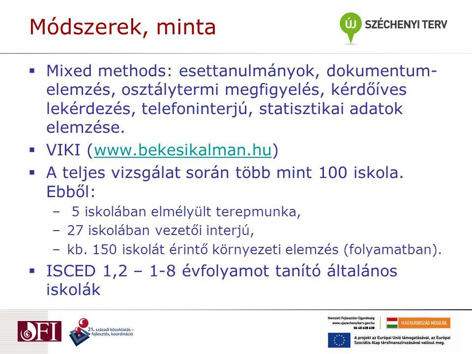 Módszerek, minta  Mixed methods: esettanulmányok, dokumentum- elemzés, osztálytermi megfigyelés, kérdőíves lekérdezés, telefoninterjú, statisztikai adatok elemzése.