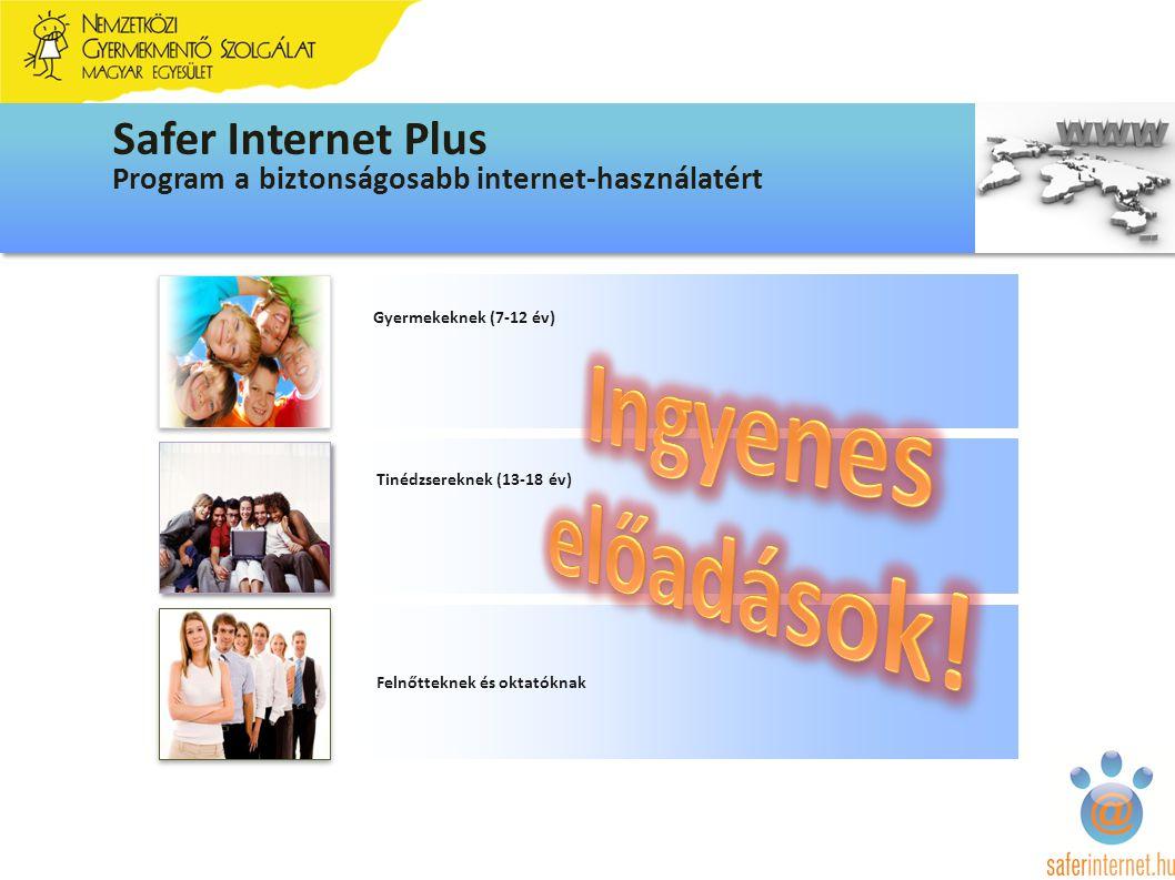 Gyermekeknek (7-12 év) Tinédzsereknek (13-18 év) Felnőtteknek és oktatóknak Program a biztonságosabb internet-használatért Safer Internet Plus