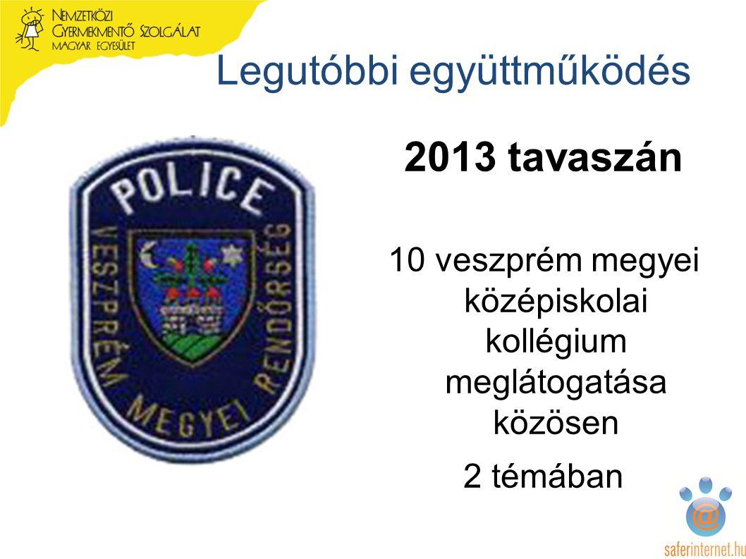 Legutóbbi együttműködés 2013 tavaszán 10 veszprém megyei középiskolai kollégium meglátogatása közösen 2 témában