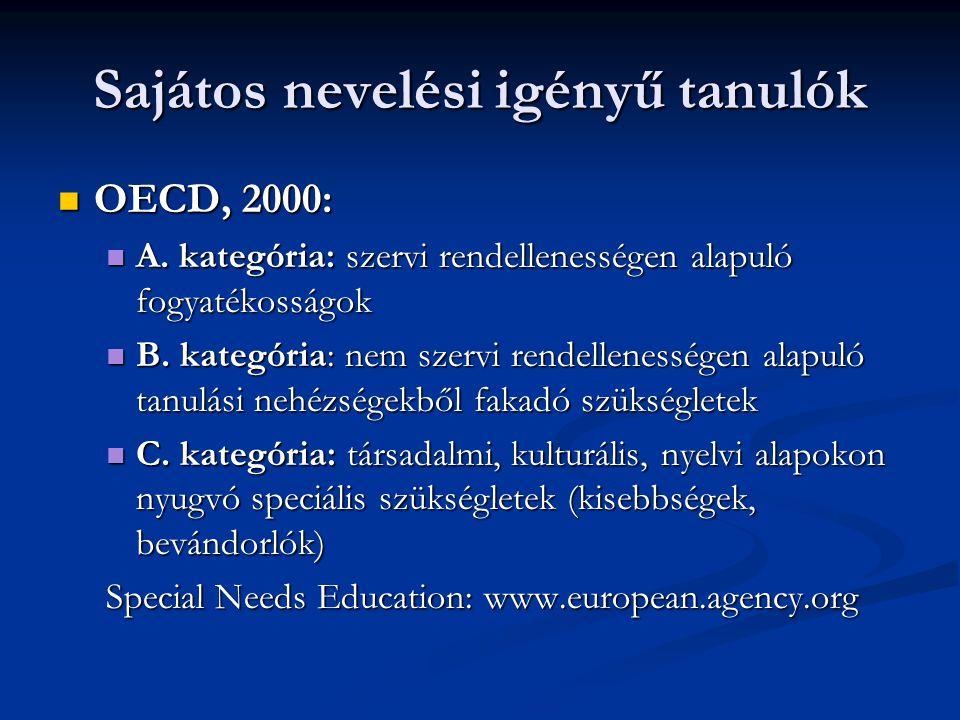 Sajátos nevelési igényű tanulók OECD, 2000: OECD, 2000: A. kategória: szervi rendellenességen alapuló fogyatékosságok A. kategória: szervi rendellenes