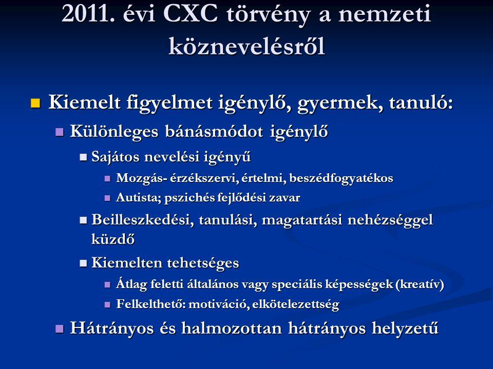 2011. évi CXC törvény a nemzeti köznevelésről Kiemelt figyelmet igénylő, gyermek, tanuló: Kiemelt figyelmet igénylő, gyermek, tanuló: Különleges bánás