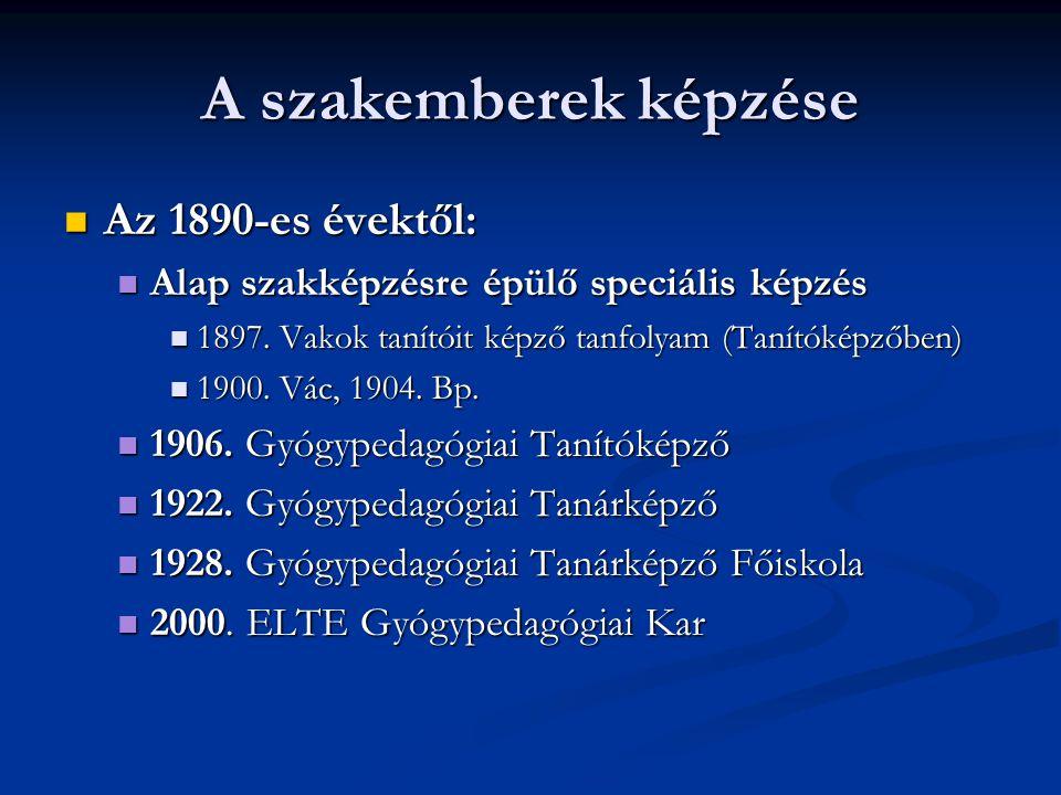 A szakemberek képzése Az 1890-es évektől: Az 1890-es évektől: Alap szakképzésre épülő speciális képzés Alap szakképzésre épülő speciális képzés 1897.
