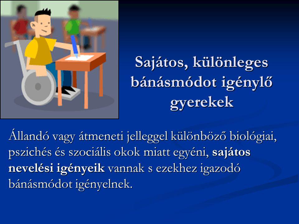 SNI gyermekek fejlesztése, intézményei: átalakulóban Sajátos és többségi intézmények Sajátos és többségi intézmények Sajátos nevelési igényű gyermekek óvodai nevelésének irányelve Sajátos nevelési igényű gyermekek óvodai nevelésének irányelve Sajátos nevelési igényű gyermekek iskolai oktatásának irányelve Sajátos nevelési igényű gyermekek iskolai oktatásának irányelve Választható kerettantervek Választható kerettantervek Nat, helyi programok, egyéni fejlesztési tervek Nat, helyi programok, egyéni fejlesztési tervek Egyéni fejlődési lapok Egyéni fejlődési lapok Vizsgarendszer: felmentések, választási lehetőségek, könnyítések Vizsgarendszer: felmentések, választási lehetőségek, könnyítések