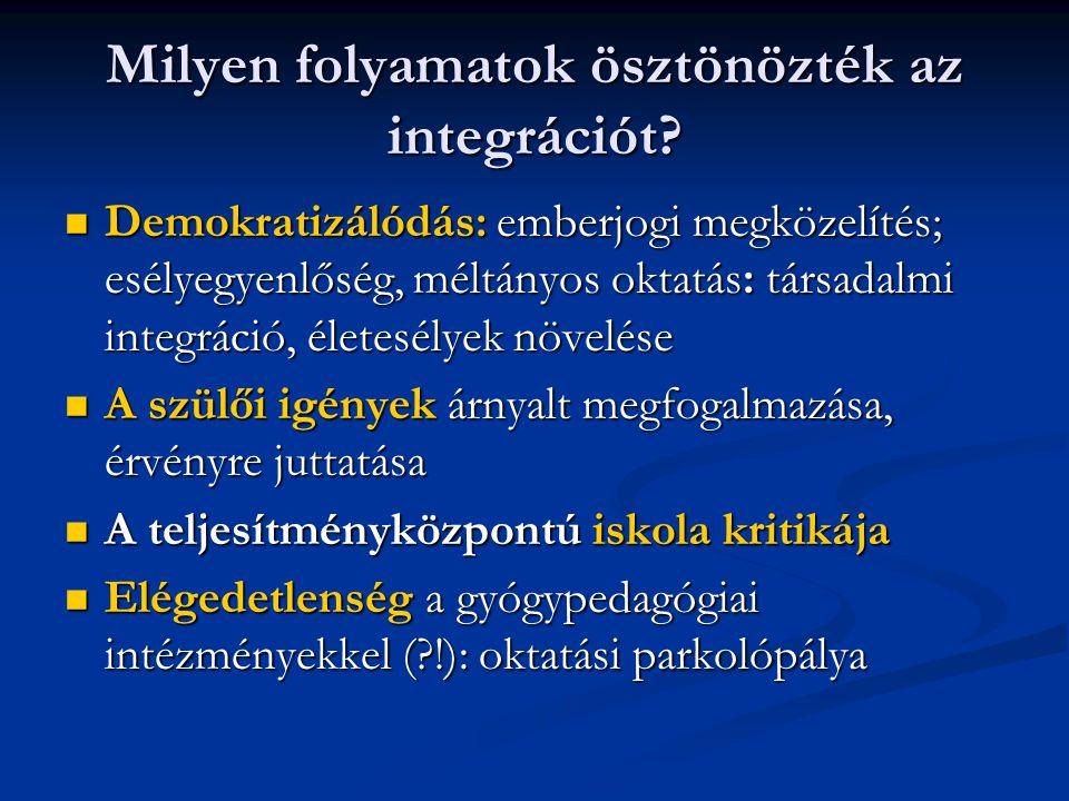 Milyen folyamatok ösztönözték az integrációt? Demokratizálódás: emberjogi megközelítés; esélyegyenlőség, méltányos oktatás: társadalmi integráció, éle