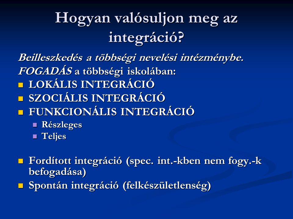 Hogyan valósuljon meg az integráció? Beilleszkedés a többségi nevelési intézménybe. FOGADÁS a többségi iskolában: LOKÁLIS INTEGRÁCIÓ LOKÁLIS INTEGRÁCI
