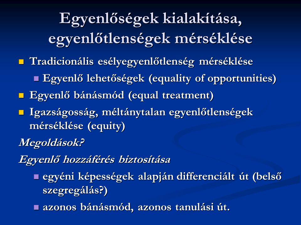 Egyenlőségek kialakítása, egyenlőtlenségek mérséklése Tradicionális esélyegyenlőtlenség mérséklése Tradicionális esélyegyenlőtlenség mérséklése Egyenl