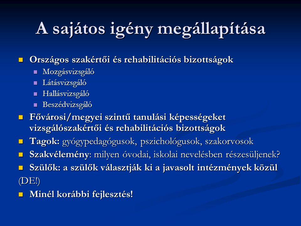 A sajátos igény megállapítása Országos szakértői és rehabilitációs bizottságok Országos szakértői és rehabilitációs bizottságok Mozgásvizsgáló Mozgásv