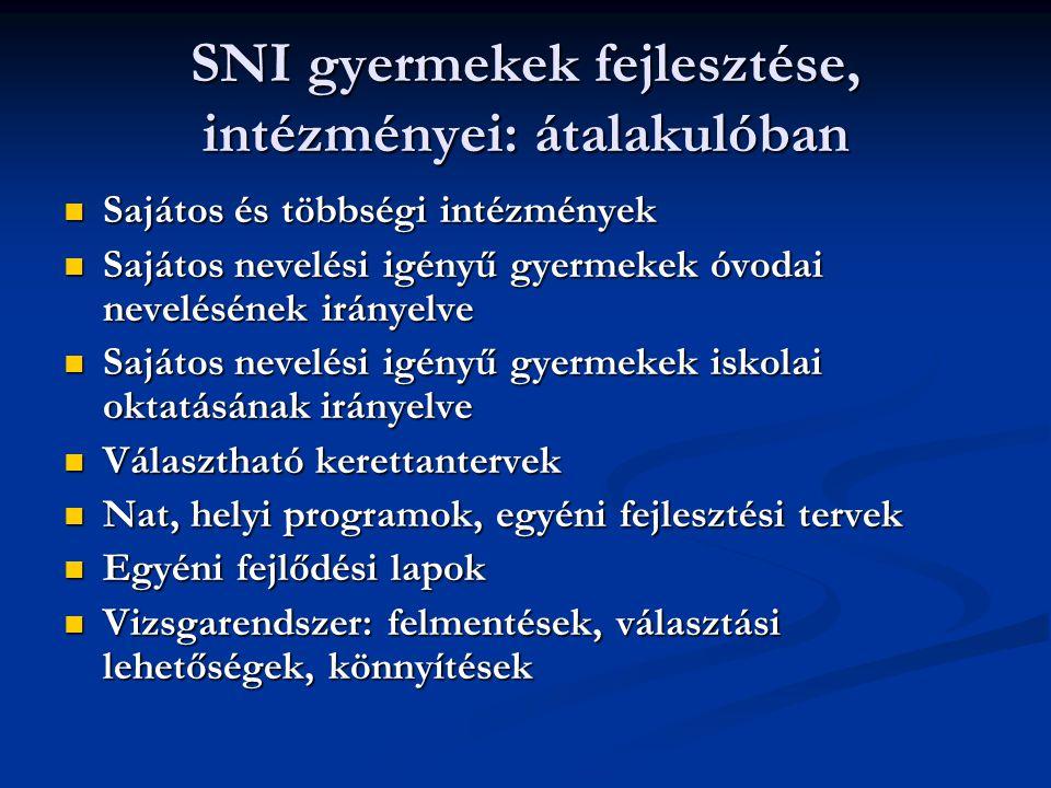 SNI gyermekek fejlesztése, intézményei: átalakulóban Sajátos és többségi intézmények Sajátos és többségi intézmények Sajátos nevelési igényű gyermekek