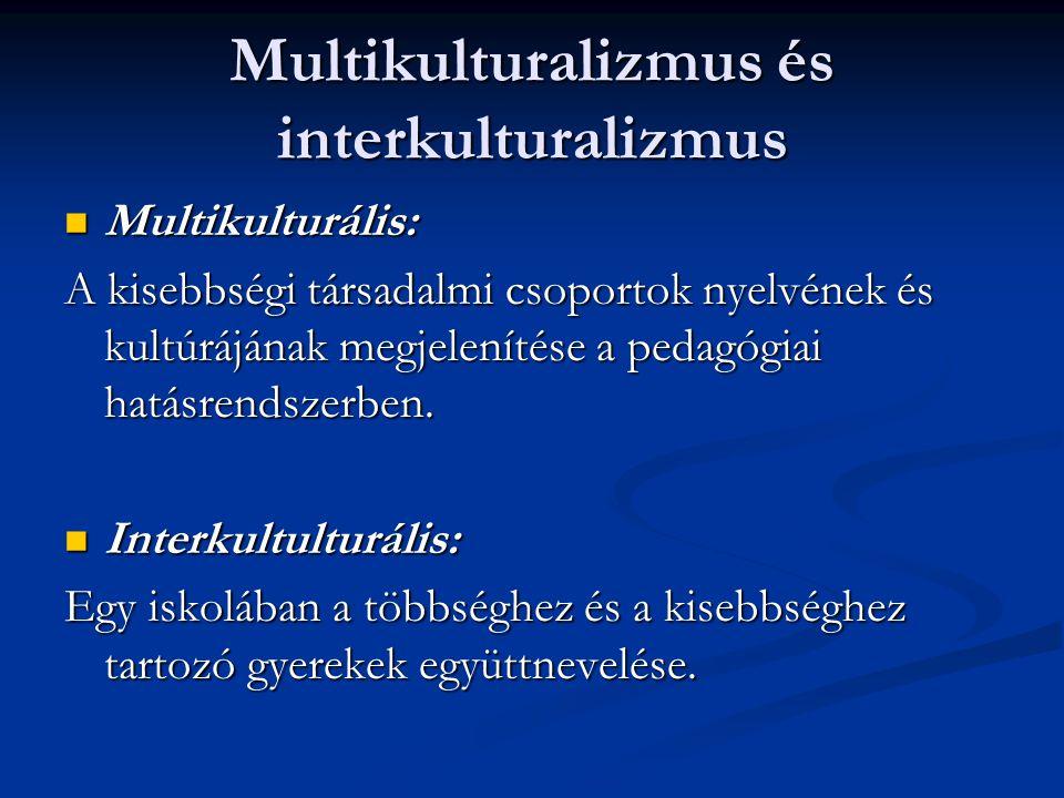 Multikulturalizmus és interkulturalizmus Multikulturális: Multikulturális: A kisebbségi társadalmi csoportok nyelvének és kultúrájának megjelenítése a