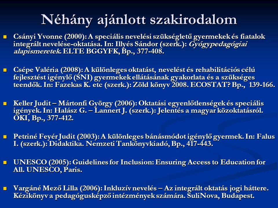 Néhány ajánlott szakirodalom Csányi Yvonne (2000): A speciális nevelési szükségletű gyermekek és fiatalok integrált nevelése-oktatása. In: Illyés Sánd