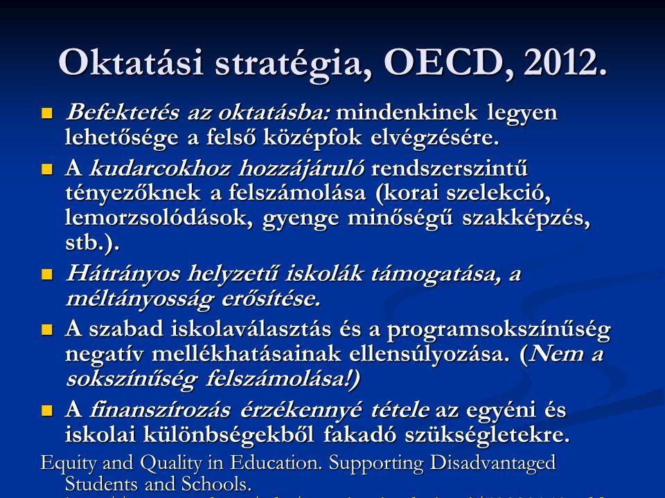 Oktatási stratégia, OECD, 2012. Befektetés az oktatásba: mindenkinek legyen lehetősége a felső középfok elvégzésére. Befektetés az oktatásba: mindenki