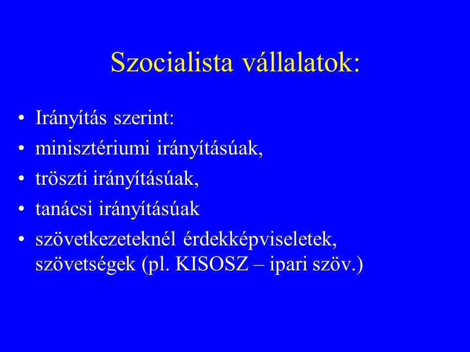 Szocialista vállalatok: Irányítás szerint: minisztériumi irányításúak, tröszti irányításúak, tanácsi irányításúak szövetkezeteknél érdekképviseletek, szövetségek (pl.