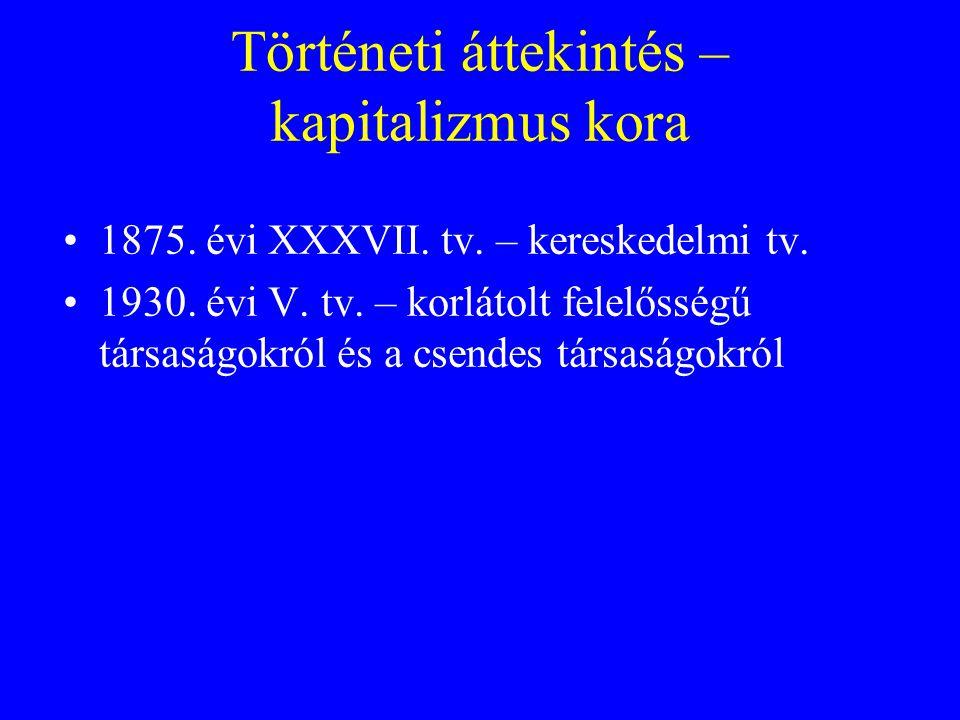 Történeti áttekintés – kapitalizmus kora 1875. évi XXXVII.