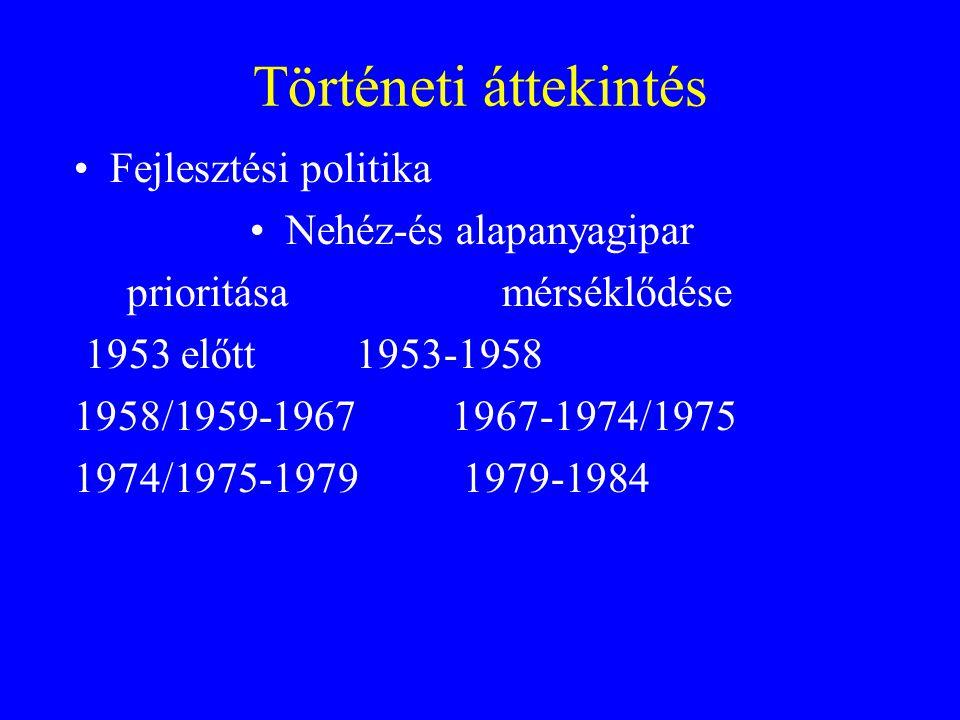 Történeti áttekintés Fejlesztési politika Nehéz-és alapanyagipar prioritása mérséklődése 1953 előtt1953-1958 1958/1959-1967 1967-1974/1975 1974/1975-1979 1979-1984