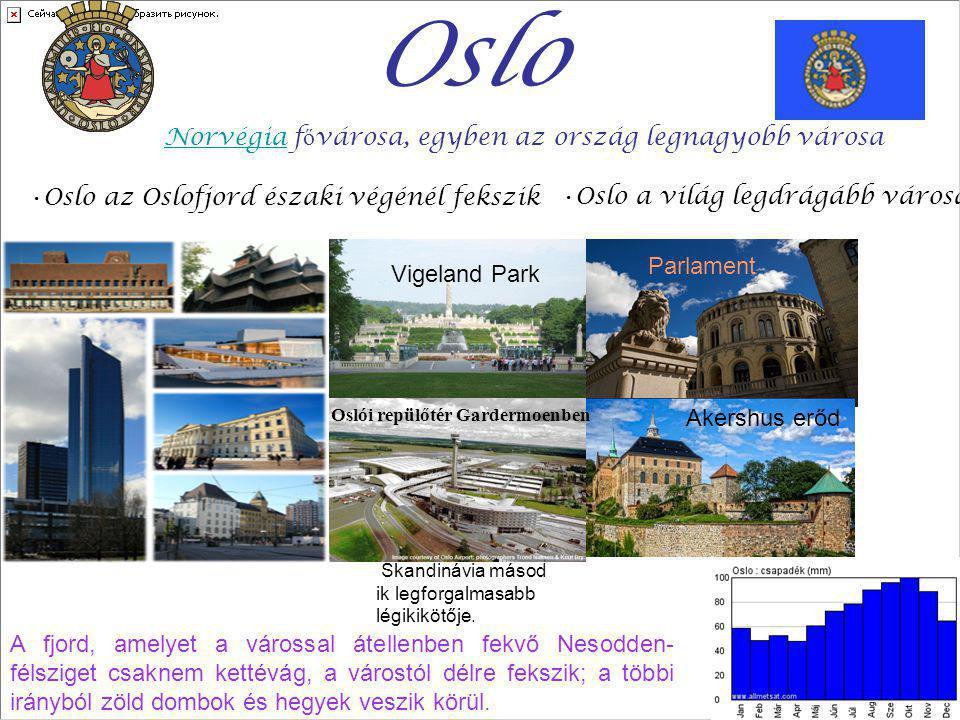 Oslo Norvégia f ő városa, egyben az ország legnagyobb városa Norvégia Oslo a világ legdrágább városa Parlament Akershus erőd Oslo az Oslofjord északi