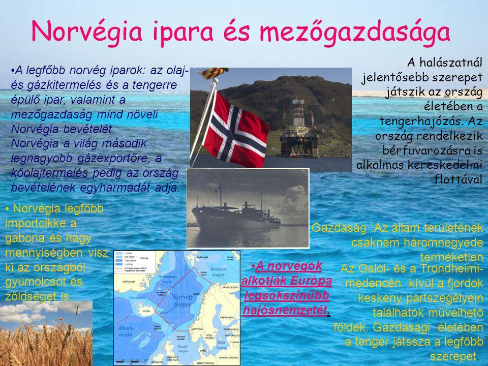 Norvégia ipara és mezőgazdasága A halászatnál jelentősebb szerepet játszik az ország életében a tengerhajózás. Az ország rendelkezik bérfuvarozásra is