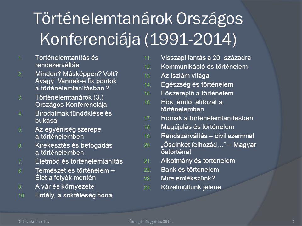 Történelemtanárok Országos Konferenciája (1991-2014) 1.