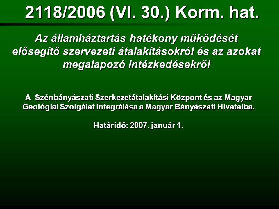 a Magyar Bányászati és Földtani Hivatalról 267/2006.