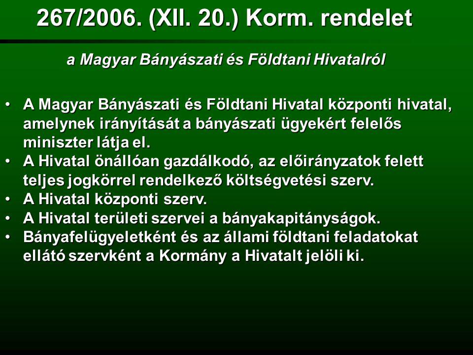 A Kormány a Magyar Bányászati Hivatal nevét Magyar Bányászati és Földtani Hivatalra (Hivatal) változtatja.