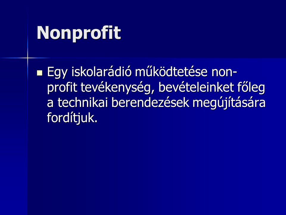 Nonprofit Egy iskolarádió működtetése non- profit tevékenység, bevételeinket főleg a technikai berendezések megújítására fordítjuk.