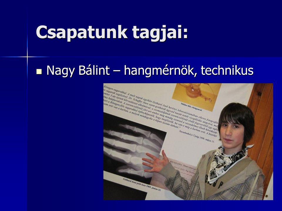 Csapatunk tagjai: Nagy Bálint – hangmérnök, technikus Nagy Bálint – hangmérnök, technikus