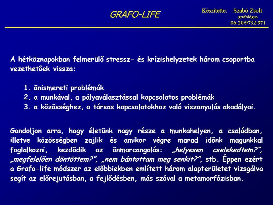 GRAFO-LIFE A hétköznapokban felmerülő stressz- és krízishelyzetek három csoportba vezethetőek vissza: 1.