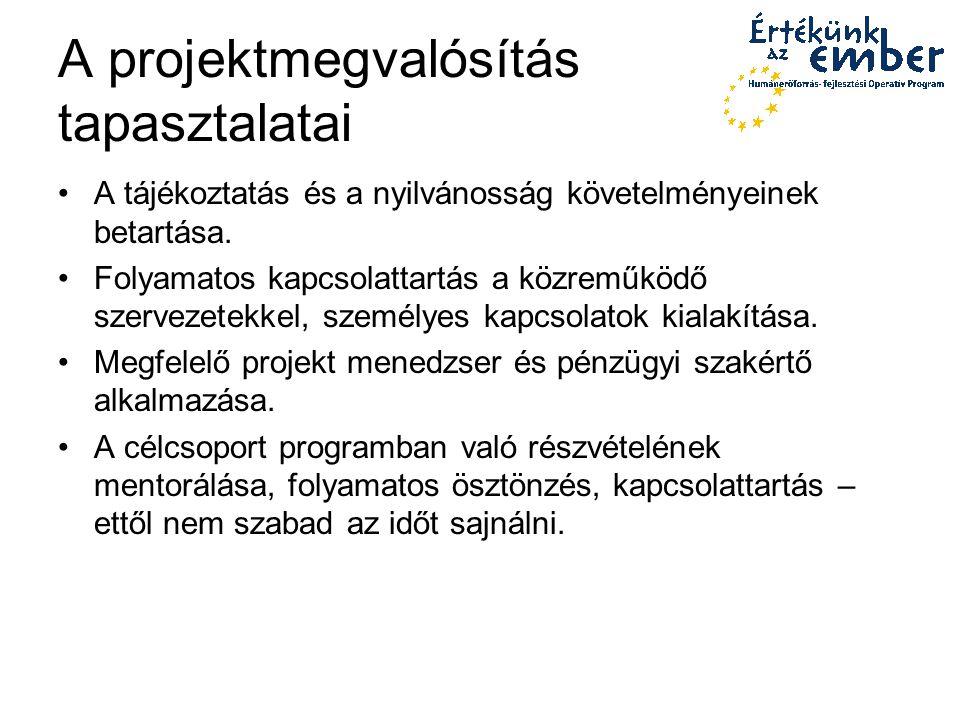 A projektmegvalósítás tapasztalatai A tájékoztatás és a nyilvánosság követelményeinek betartása.